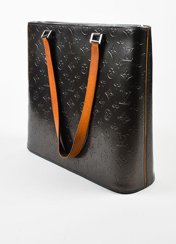 "Louis Vuitton Grey and Tan Leather Monogram Vernis ""Mat Wildwood"" Tote Bag Sideview"