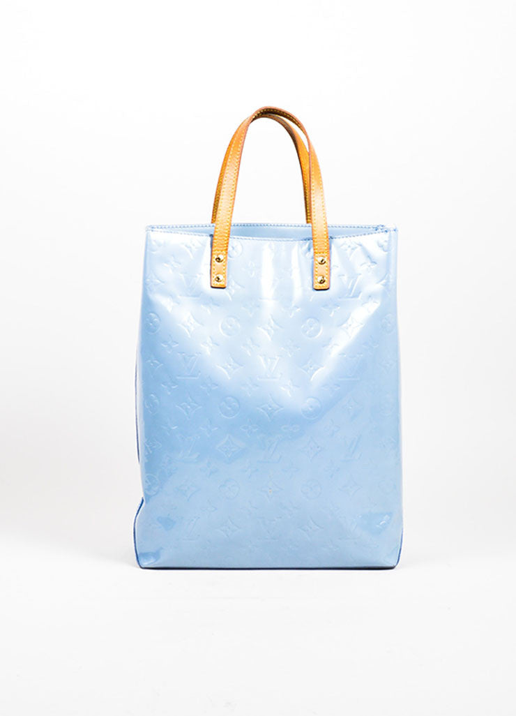 "Pale Blue Louis Vuitton Monogram Vernis ""Reade MM"" Tote Bag Frontview"