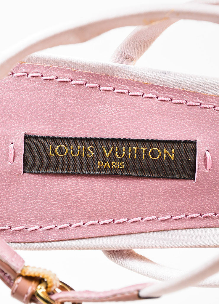 "Pink and Gold Louis Vuitton Satin ""Lime"" Wedge Sandals Brand"