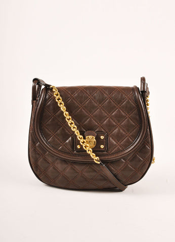 Marc Jacobs Brown and Gold Toned Leather Quilted Flap Crossbody Bag Frontview