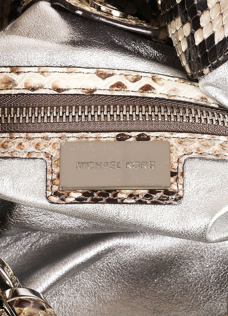 "Michael Kors Brown and Taupe Python ""Tonne"" Handbag Brand"