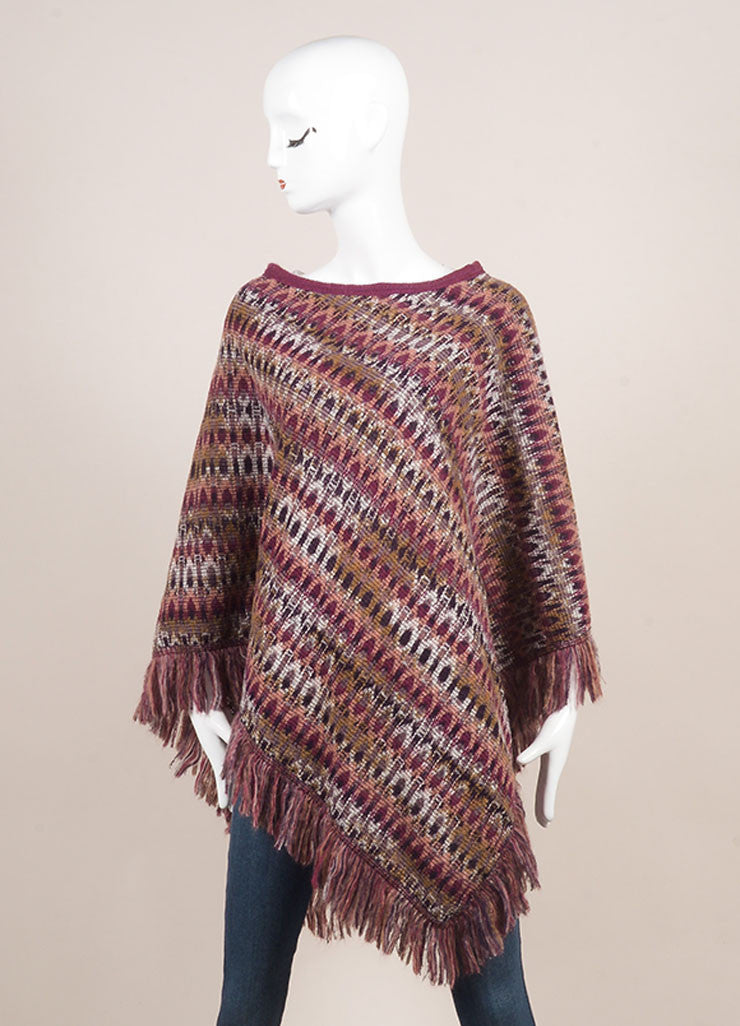 Missoni Purple and Multicolor Abstract Pattern Knit Mohair and Wool Poncho Frontview