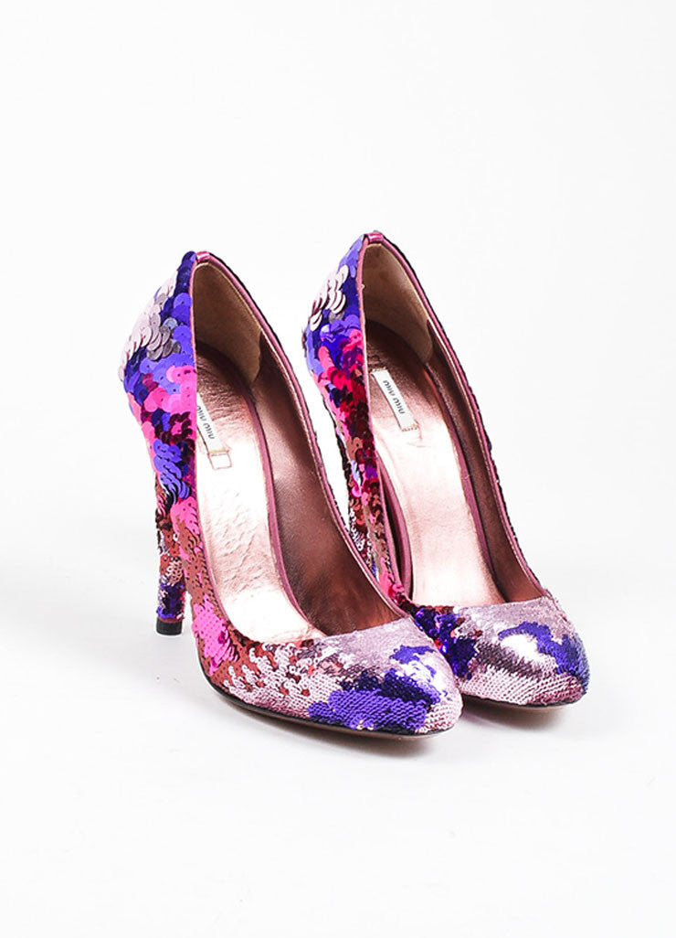 Miu Miu Pink and Purple Sequin Ombre Embellished Almond Toe Pumps Frontview