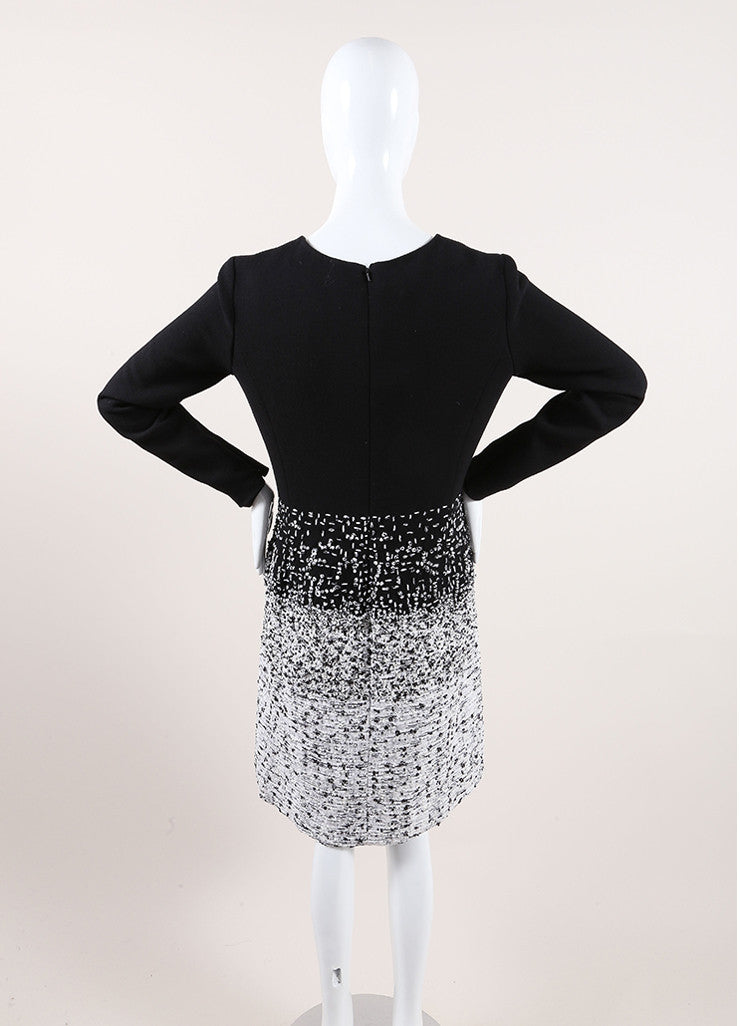 Oscar de la Renta New With Tags Black and White Wool Tweed Ombre Long Sleeve Dress Backview