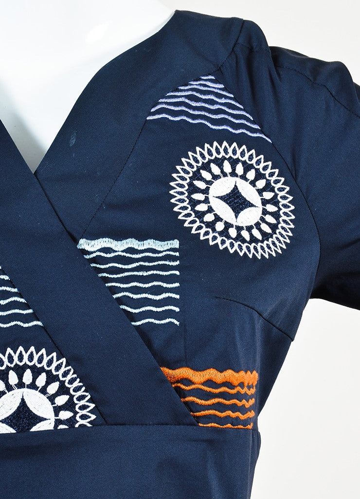 "Peter Pilotto Navy and Orange Embroidered ""Alethia"" Dress Detail"