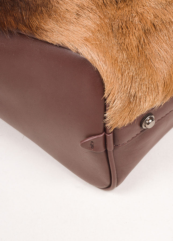 "3.1 Phillip Lim Brown Leather and Springbok Antelope Fur Small ""Ryder"" Satchel Bag Detail"