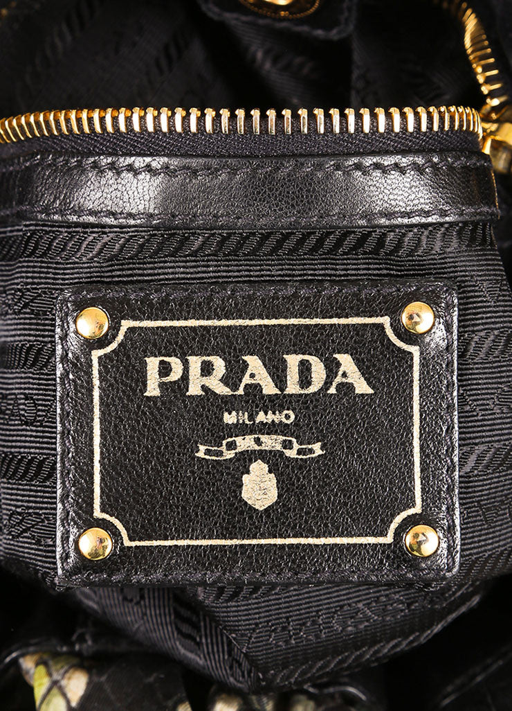 Prada Black and Green Nylon and Leather Trim Snakeskin Print Bow Shoulder Bag Brand