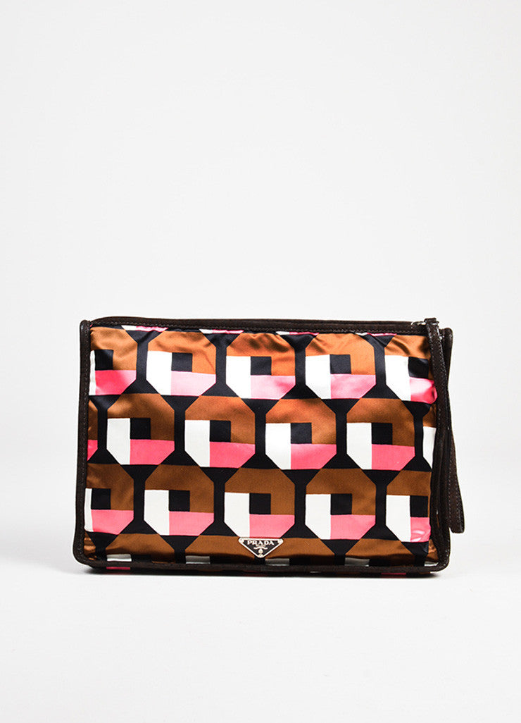 Prada Brown, Pink, and White Satin Holiday & Brown London Specially Reedited Wristlet Frontview