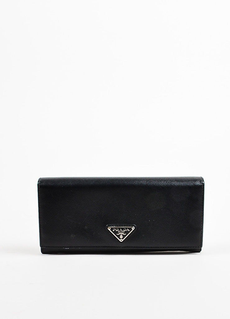 Prada Black Coated Saffiano Leather Snap Flap Letter Logo Continental Wallet Frontview