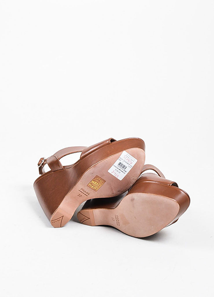 Brown Prada Leather Asymmetrical Strap Wedge Heel Sandals Outsoles