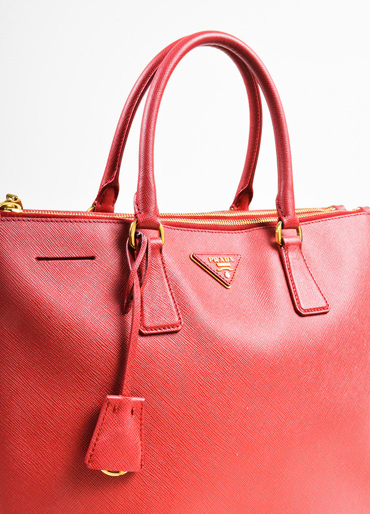 "Prada Red Saffiano Lux Leather ""Medium Executive Tote"" Handbag Detail 2"