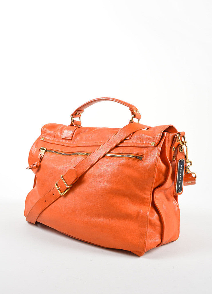 "Proenza Schouler Orange ""PS1"" Large Satchel Flap Bag Sideview"