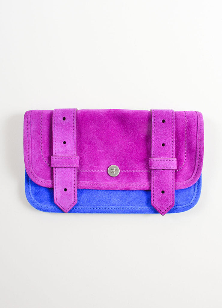 "Proenza Schouler Grape Purple and Cobalt Blue Suede Leather ""PS1"" Wallet Frontview"