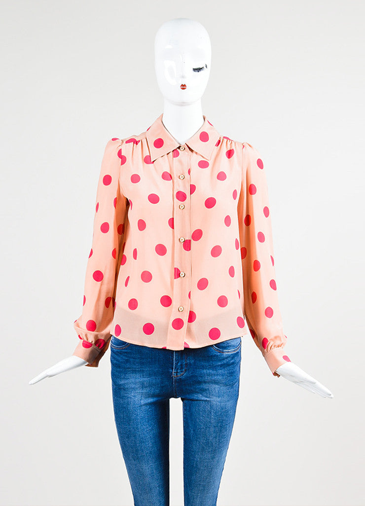 Red Valentino Pink Silk Polka Dot Button Down Blouse Frontview