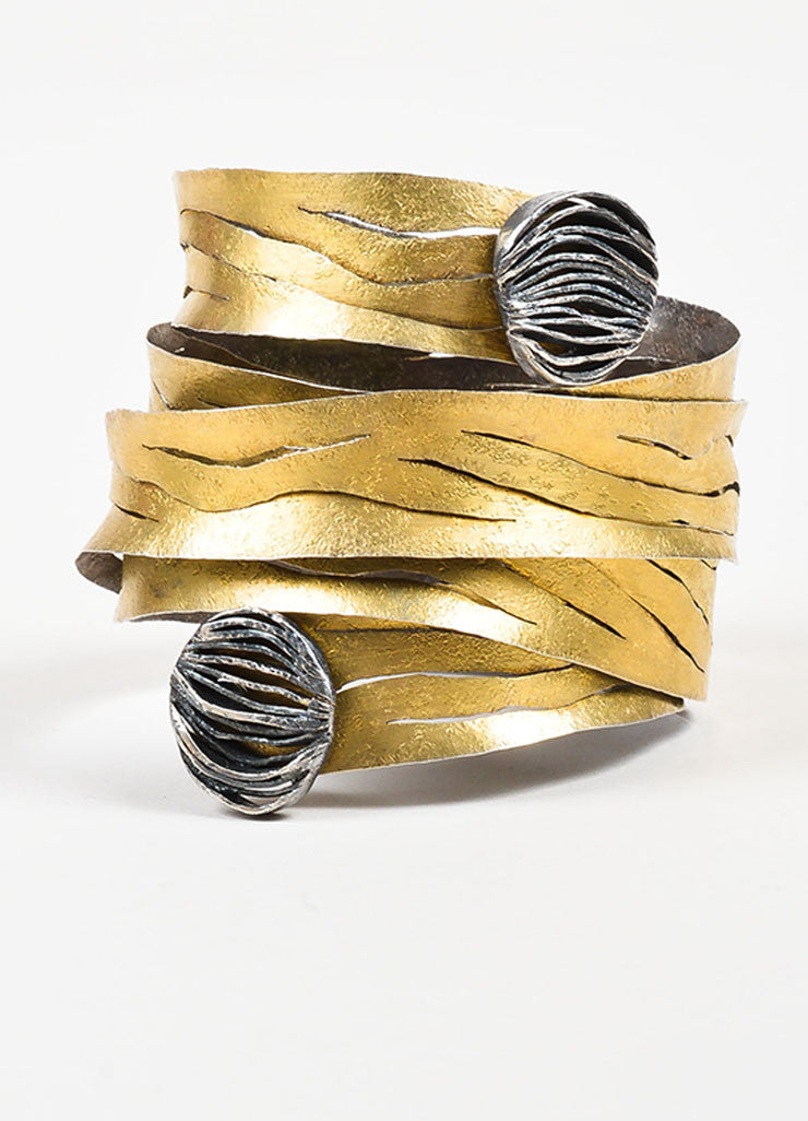18K Yellow Gold and Sterling Silver Reiko Ishiyama Cut Out Spiral Wrap Bracelet Frontview