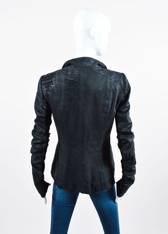 Black Rick Owens Leather Distressed Knit Jacket Backview