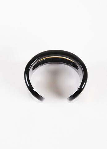 Roger Vivier Black and Gold Plated Sterling Silver Cut Out Wide Band Cuff Bracelet Topview