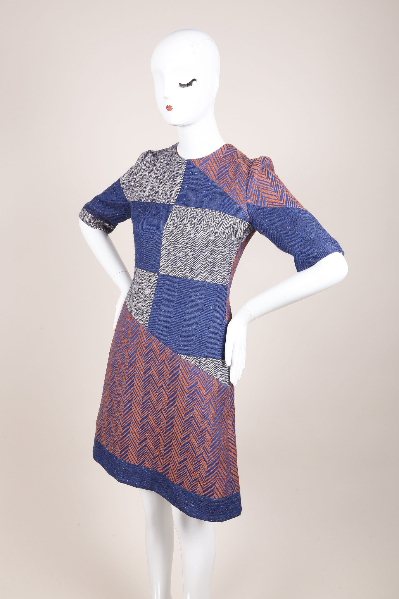 Roksanda New With Tags Blue, White, and Copper Herringbone Sheath Dress Sideview
