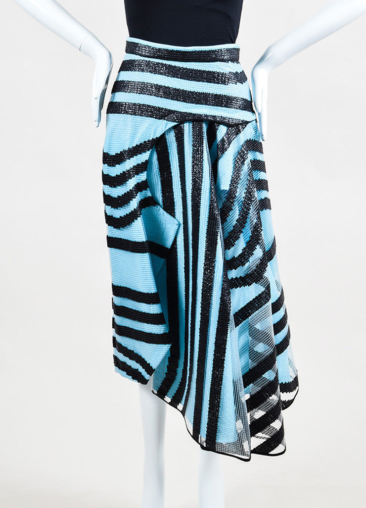 Roksanda Sky Blue and Black Textured PVC Stripe Angled Hem Skirt Frontview