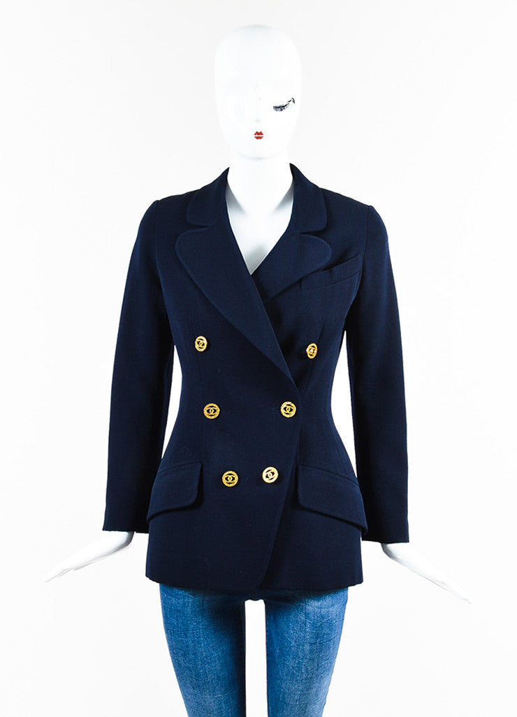 Chanel Navy and Gold Toned Wool and Silk 'CC' Button Blazer Frontview 2