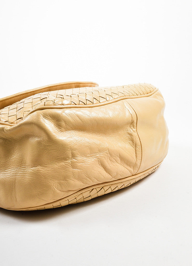 Bottega Veneta Cream Woven Leather Saddle Bag Bottom View