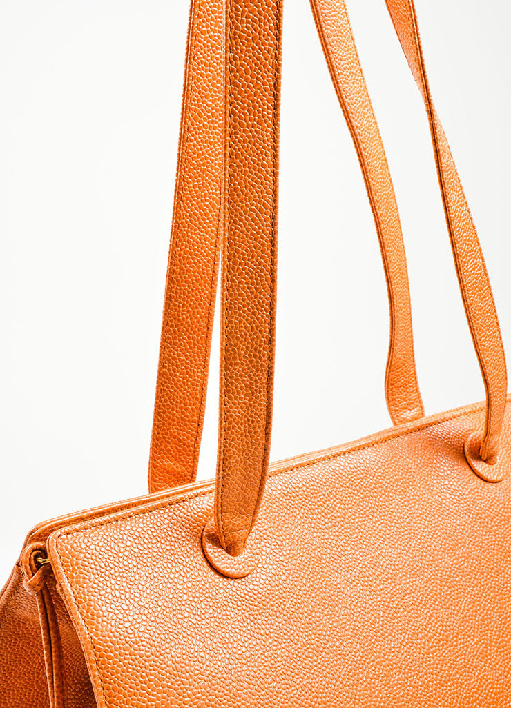 "Cognac and Orange Chanel Large ""CC"" Caviar Square Tote Bag Detail 3"