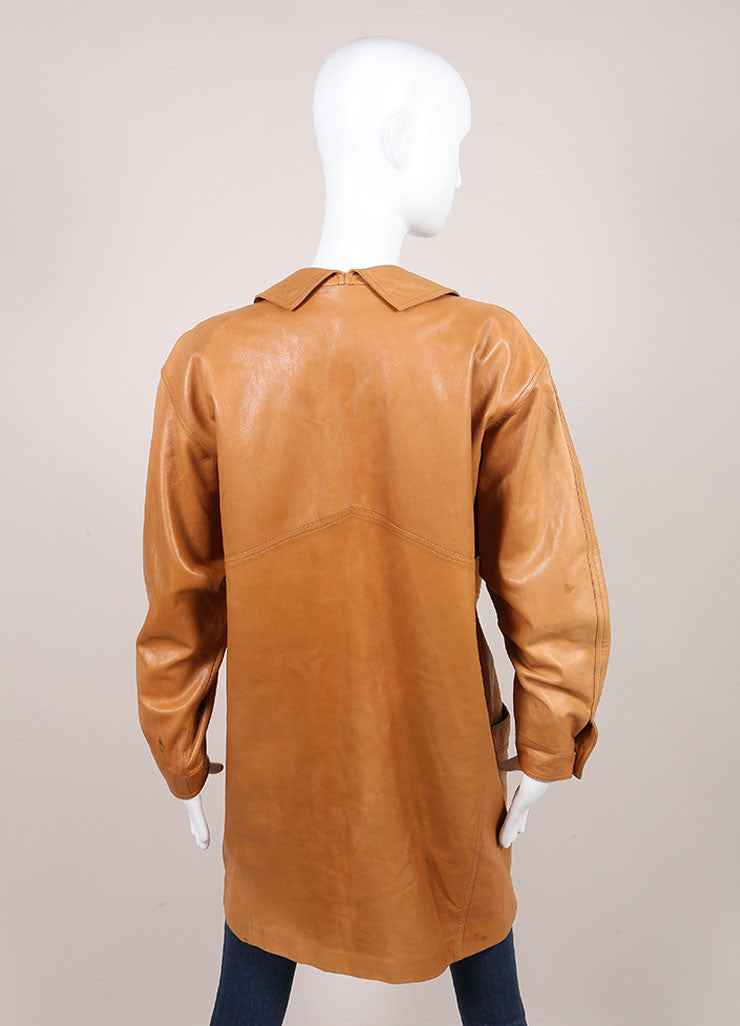 Claude Montana Cognac Leather Oversized Long Jacket Backview