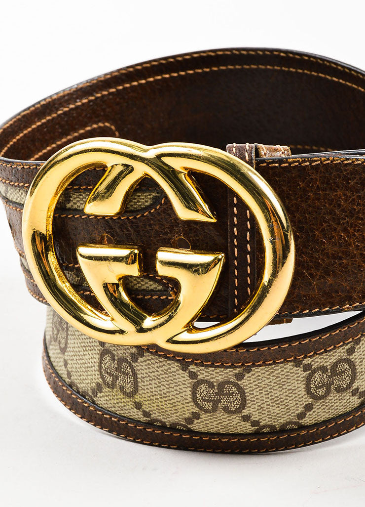 Gucci Beige and Brown Coated Canvas and Leather Monogram Gold Toned 'GG' Belt Detail