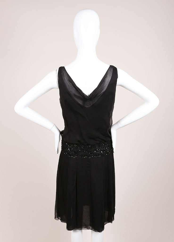 Valentino Black Silk Sequin Embellished Sleeveless Dress Backview