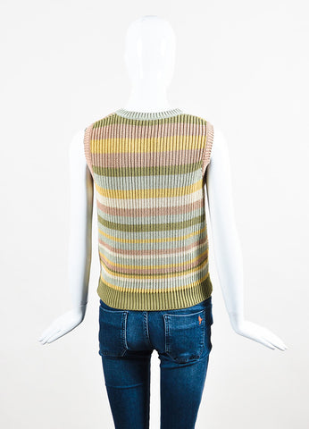 Multicolor Valentino Cotton Chevron Stripe Knit Sleeveless Sweater Back