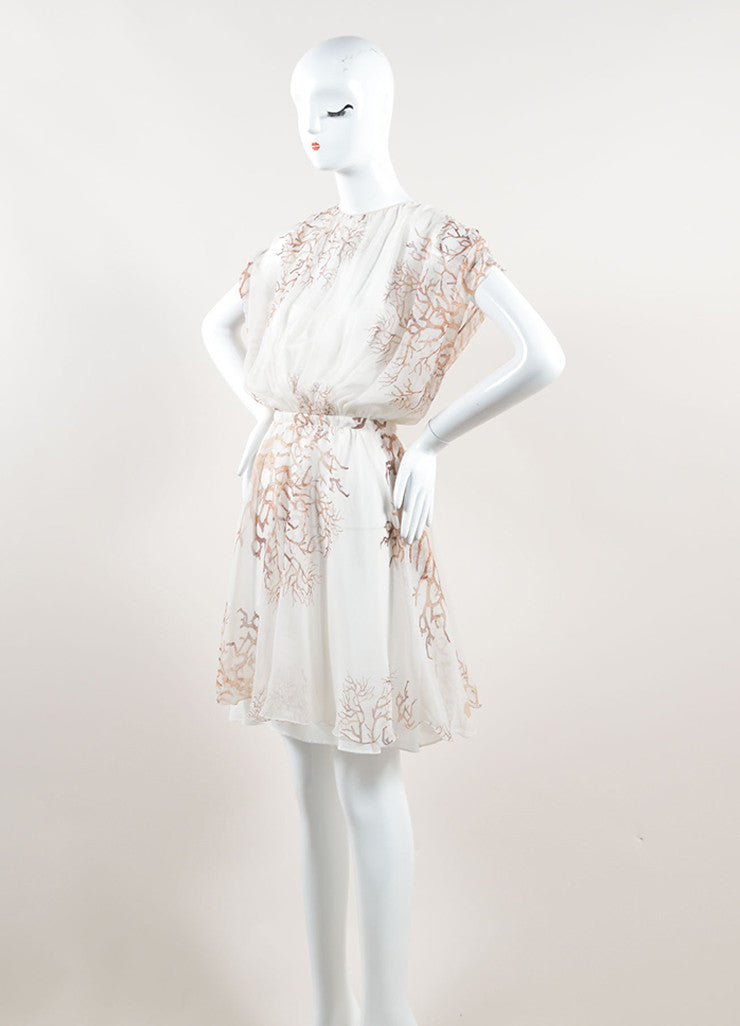 Valentino Cream and Brown Silk Chiffon Coral Print Sleeveless Sheer Dress Sideview