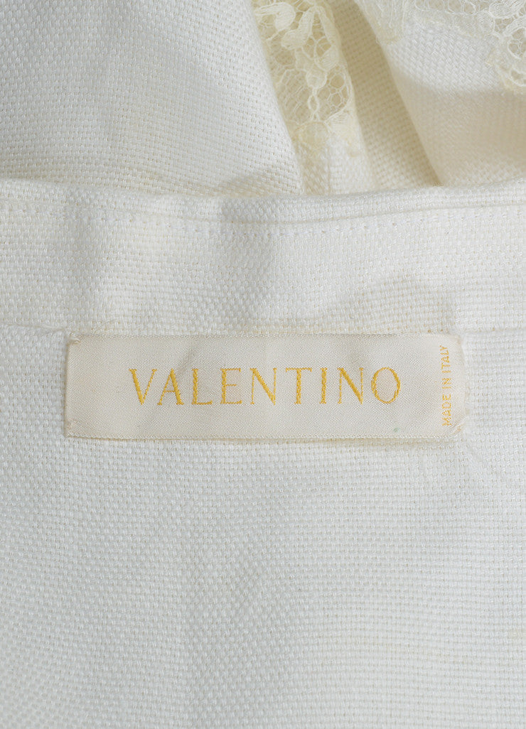White Valentino Lace Trim Scalloped Cropped Button Jacket Brand