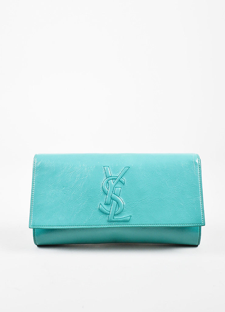 "Yves Saint Laurent Robin's Egg Blue Patent Leather 'YSL' ""Belle Du Jour"" Clutch Bag Frontview"