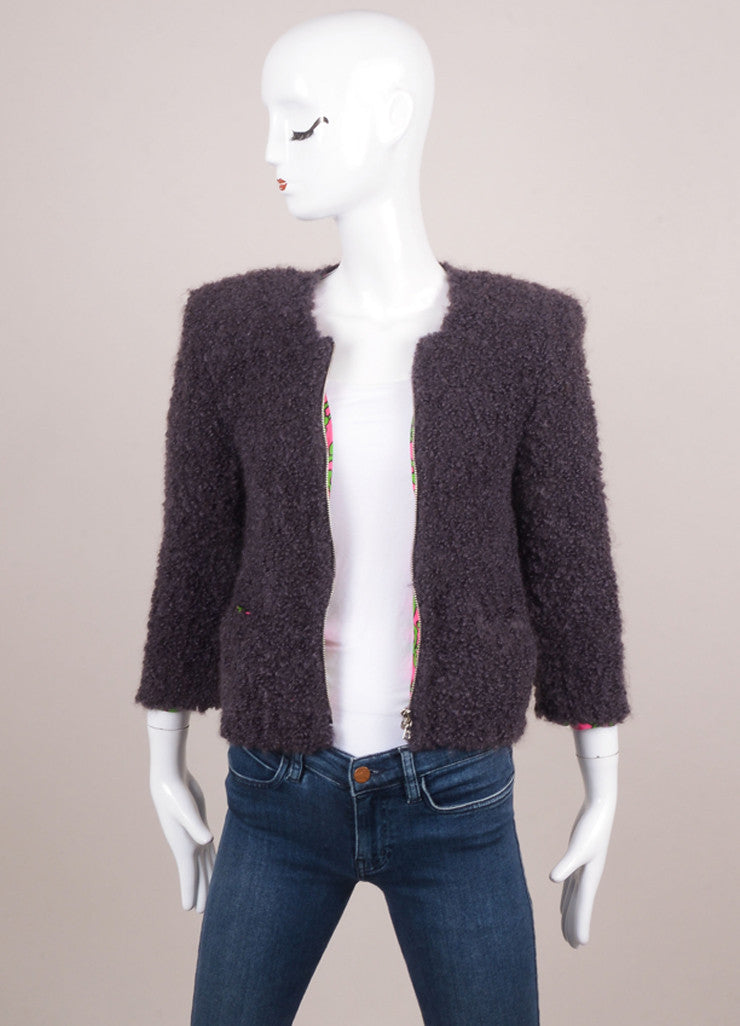 Grey Marc Jacobs Fuzzy Knit Wool and Mohair Blend Three Quarter Sleeve Jacket