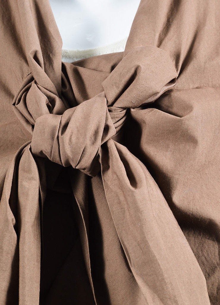 """Bronze"" Brown Rick Owens Cotton Draped Cropped Tie Jacket Detail"