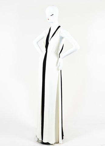 Valentino Black and White Silk Crepe Plunging Neck Color Block Gown Sideview