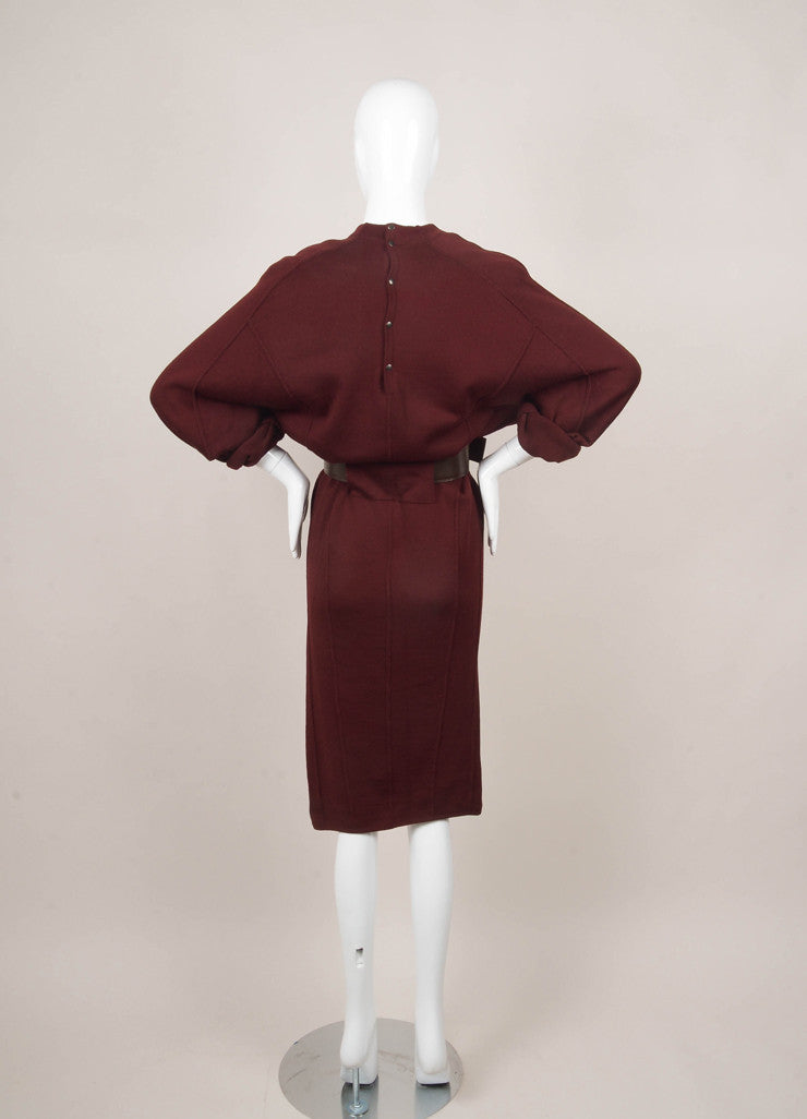Maroon and Brown Wool Belted Sweater Dress