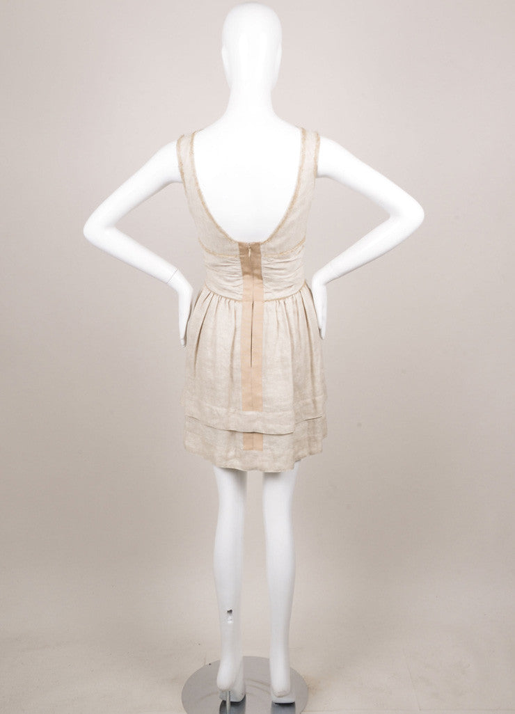 Fendi Tan Textured Pleated Ruched Sleeveless Dress Backview