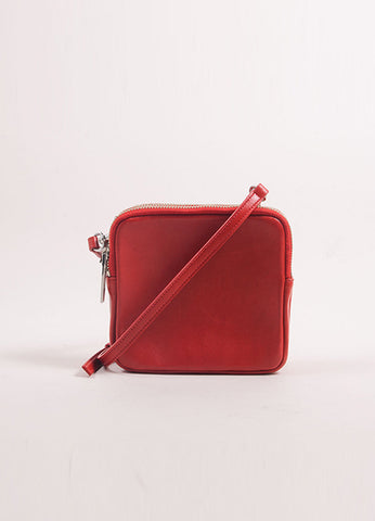 A.L.C. Red Leather Three Zip Pouch Cross Body Bag Frontview