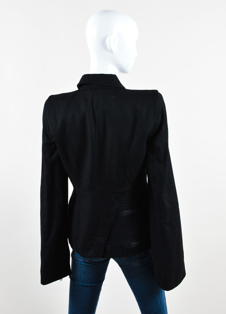Alexander McQueen Black Wool and Cashmere Blend Leather Trim Ribbed Jacket Backview