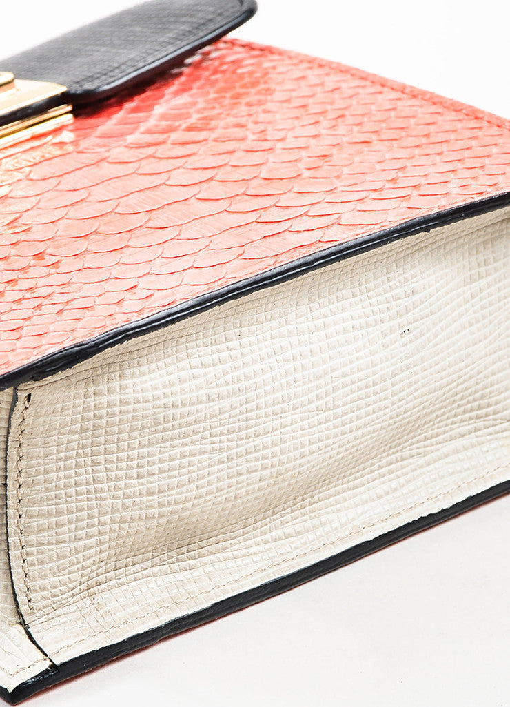 "Coral, Black, and Green Andrew Gn ""Chryscolla"" Python Leather Bag Bottom View"
