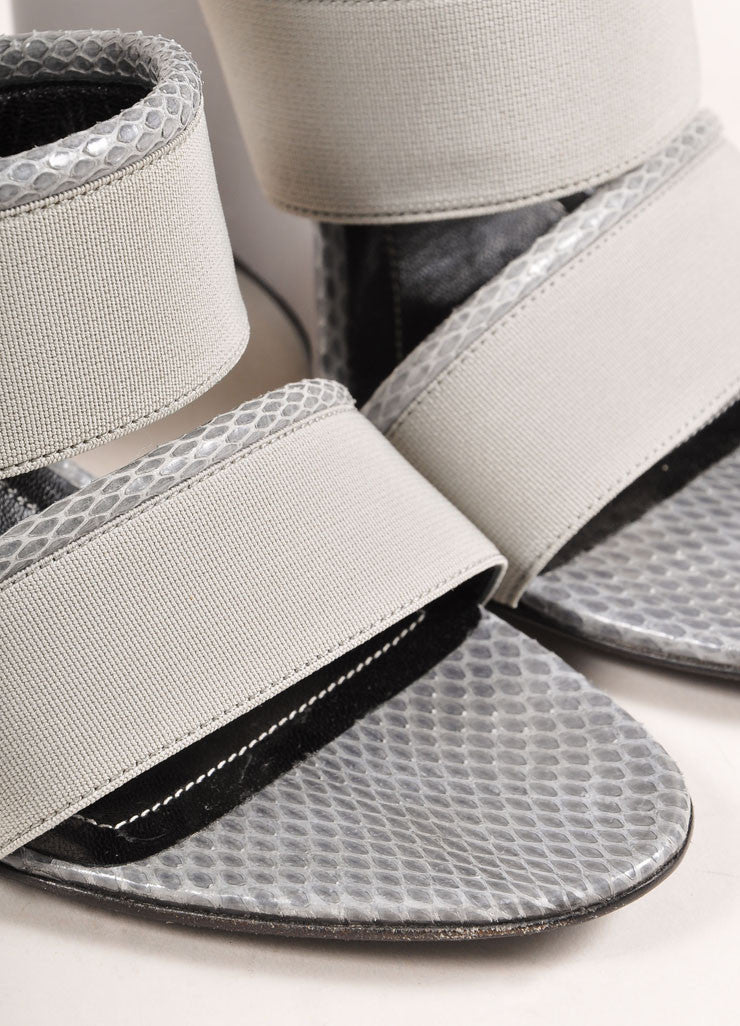 Balenciaga New In Box Grey Elastic Snakeskin Leather Trim Wedge Sandals Detail