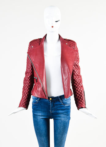 Barbara Bui Maroon Red Silver Toned Leather Quilted Zip Moto Jacket Frontview