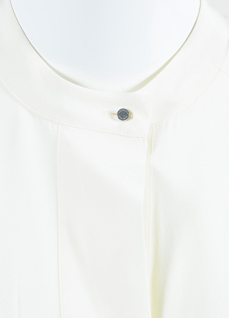 "White Belstaff Silk Crepe Layered Buttoned Long Sleeve ""Lissa"" Blouse Detail"
