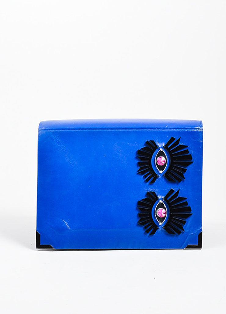 Blue, Pewter, and Pink Benedetta Bruzziches Leather Laser Cut Eye Accordion Clutch Frontview