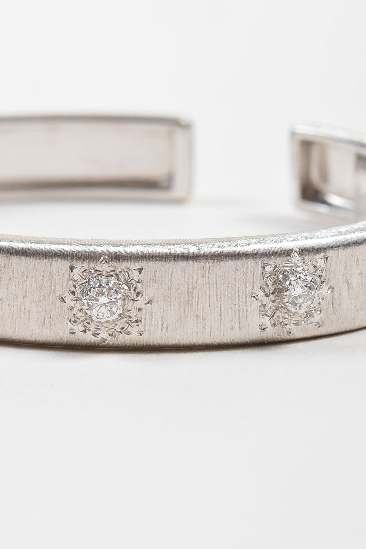 "18K White Gold and Diamond Station Small Buccellati 18K White Gold Diamond Station Small ""Classica"" Cuff Bracelet ""Classica"" Cuff Bracelet Detail"