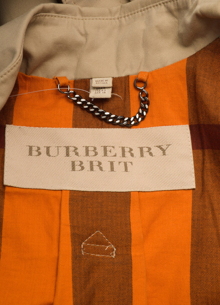 Burberry Brit Tan Belted Trench Coat Brand