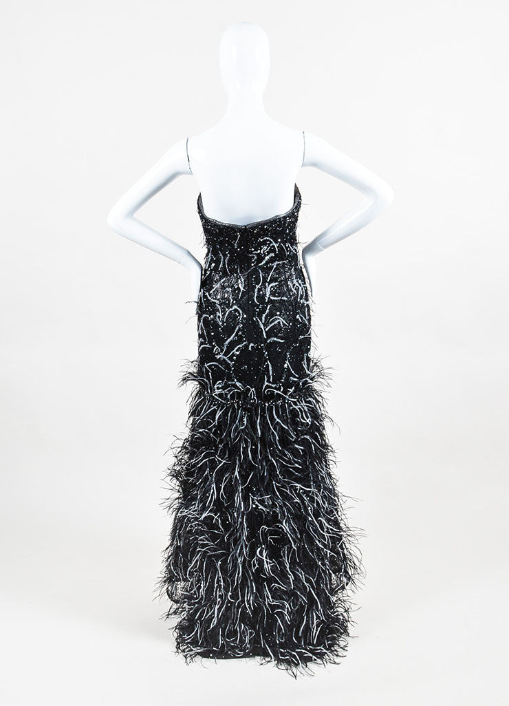 Carolina Herrera Black and Gunmetal Jacquard Sequin Feather Strapless Gown Backview