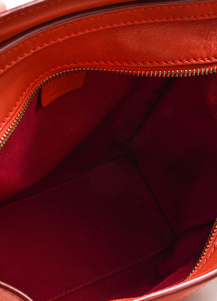 """Lipstick"" Red Celine Leather ""Nano Shopper"" Crossbody Tote Bag Interior"