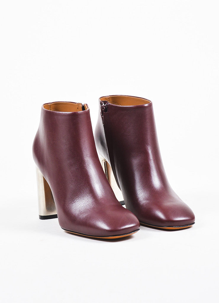 Celine Burgundy Leather Silver Toned Chunky Heel Ankle Boots Frontview